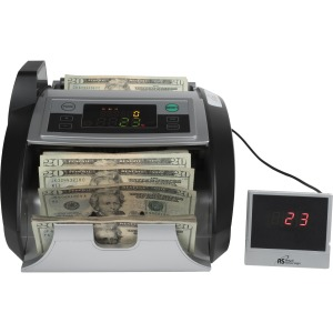 Royal Sovereign Back loading bill counter with counterfeit detection, 1000 bills/min and auto start/stop, batching 1 -999 bills, auto self test, secondary display