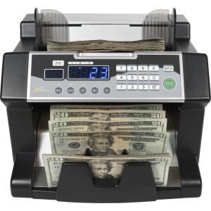 Royal Sovereign Front loading bill counter with counterfeit detection, 1200 bills/min and auto start/stop, batching 1 -999 bills, auto self test