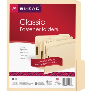 Smead Manila Fastener Folders with Reinforced Tab