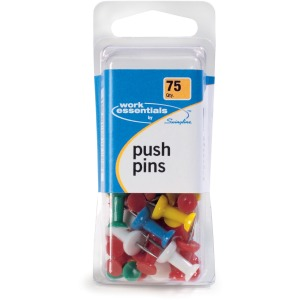 ACCO® Push Pins, Assorted Colors, 75/Box