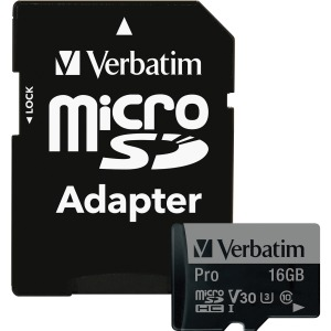 Verbatim 16GB Pro 600X microSDHC Memory Card with Adapter, UHS-I U3 Class 10