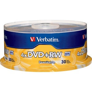 Verbatim DVD+RW 4.7GB 4X with Branded Surface - 30pk Spindle