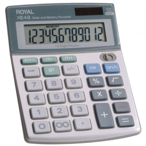 ROYAL XE48 12 DIGIT DUAL - POWER HANDHELD CALC