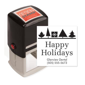 Holiday Trees & Gift Design Stamp - Self-Inking