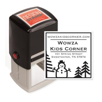 Country Snowman Design Stamp - Self-Inking