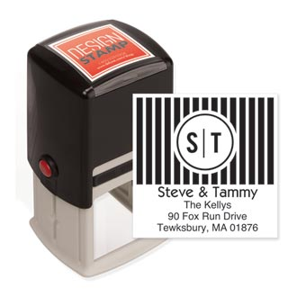 Bold Bars Monogram Design Stamp - Self-Inking