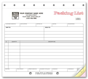 Carbonless, Small Format Packing Lists 2-part
