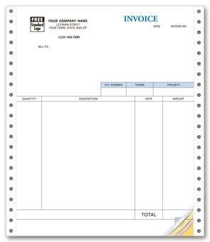 Service Invoices, Continuous, Classic 4-part