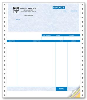 Service Invoices, Continuous, Parchment 2-part