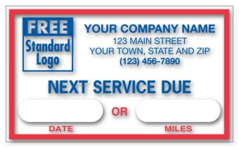 Static Cling Windshield Labels,  Next Service Due