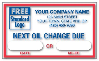 Static Cling Windshield Labels,  Next Oil Change Due