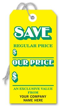 Save  Tags, Stock,Yellow, Large