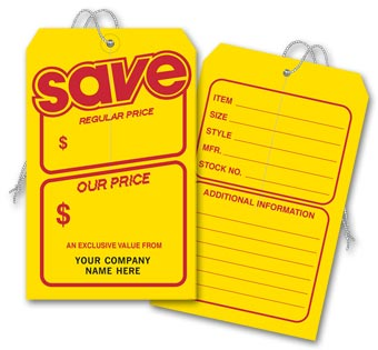 Save Price Tag, Yellow w/ Red Borders, Jumbo 5 x 8