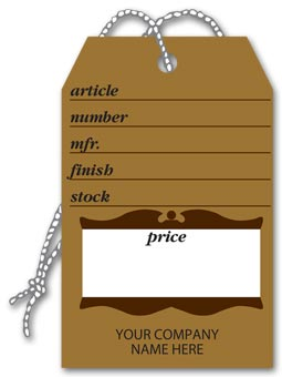 Furniture Price Tags, Brown Colonial Design, Small