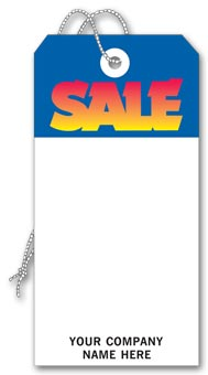 Sale  Tag, Stock, Blue & White, Large