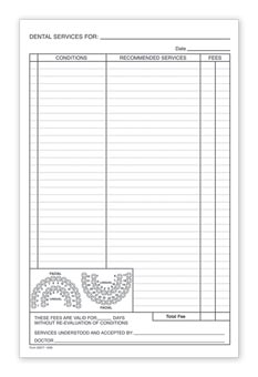 Dental Patient Treatment Form, 5.5  x 8.5