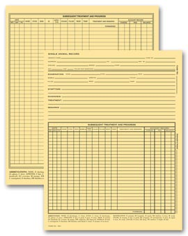 Vet Animal Exam Records, With Account Record, Card File Fold