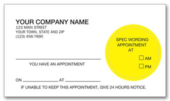 Peel and Stick Appointment Card, Imprinted