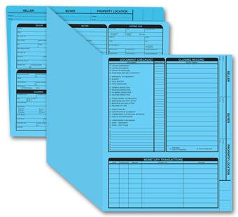 Real Estate Folder, Right Panel List, Letter Size, Blue