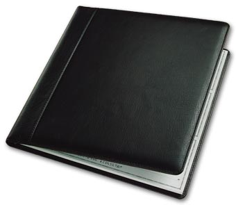 3-On-A-Page Leather Cover, Executive Deskbook Checks