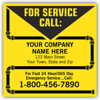 Contractor Service Labels, with Pipe Border, Vinyl