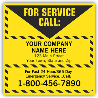 For Service Call Label, Yellow with Safety Border, Vinyl
