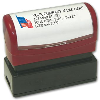 Name & Address with American Flag - Pre-Inked