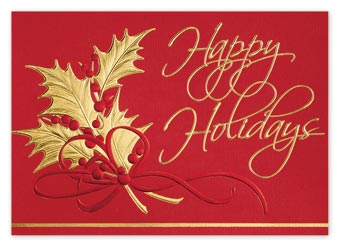 Holly Bouquet Holiday Cards