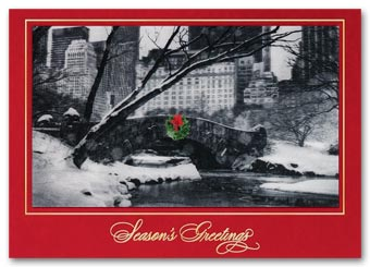 Cityscape Flurries Lenticular Holiday Card