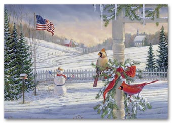 Countryside Cardinals Holiday Card