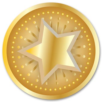 Round Gold Star Christmas Envelope Seal