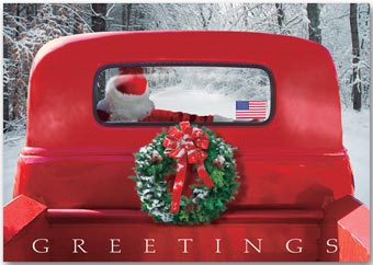 4-Wheeled Sleigh Patriotic Christmas Cards