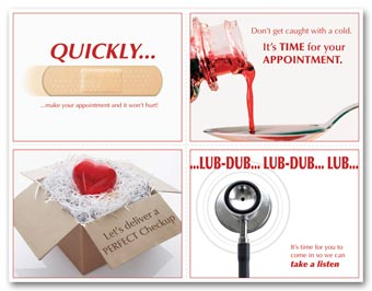 Medical Reminder Card, Cough, Syrup & Bandage Laser Postcard