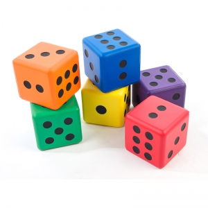 JUMBO DICE 3 1/2IN RAINBOW SET