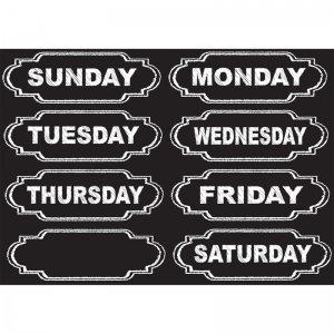 Die-Cut Magnets, Chalkboard Days of the Week, 8 Pieces