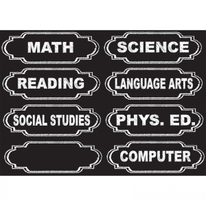 Die-Cut Magnetic Chalkboard Class Subjects, 8 Pieces