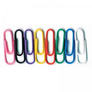VINYL COATED PAPER CLIPS NO 1 SIZE  100PK