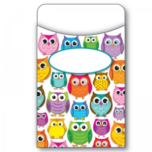 COLORFUL OWLS LIBRARY POCKETS