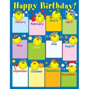 CHARTLET SMILEY FACE BIRTHDAY  17 X 22