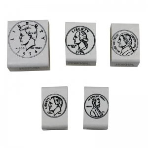 STAMP SET COINS HEADS 5/PK