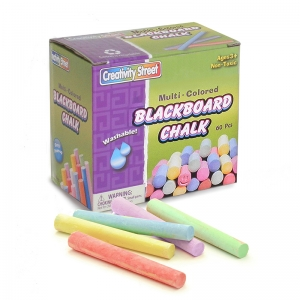 "Blackboard Chalk, 5 Assorted Colors, 3/8"" x 3-1/4"", 60 Pieces"