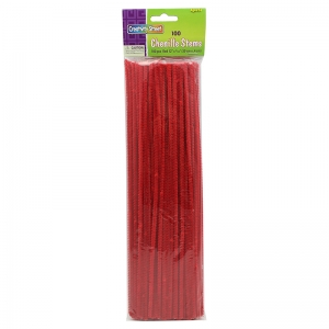 "Regular Stems, Red, 12"" x 4 mm, 100 Pieces"