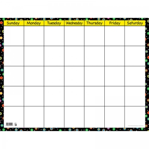 "Poppin' Patterns Dots on Black Calendar Chart, Small Horizontal, 22-3/8"" x 17"""
