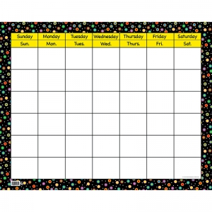 "Poppin' Patterns Dots on Black Calendar Chart, Large Horizontal, 28-1/2"" x 22-1/4"""