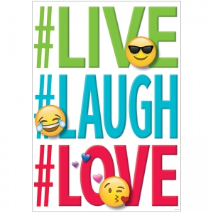 LIVE LAUGH LOVE INSPIRE U POSTER  EMOJI FUN