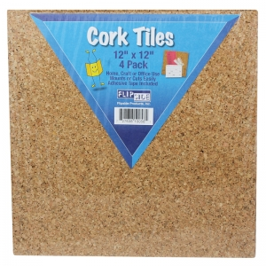 "Cork Tiles, 12"" x 12"", Set of 4"