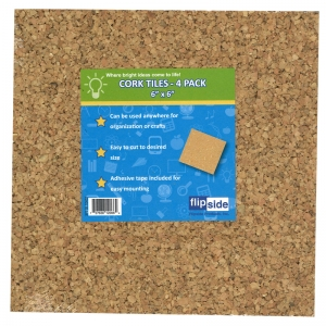 "Cork Tiles, 6"" x 6"", Set of 4"