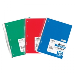 NOTEBOOK SPIRAL 5 SUBJECT 180 CT  10 1/2 X 8