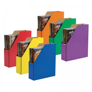"Classroom Keepers Magazine Holders, 6 Assorted Colors, 12-3/8""H x 3-1/8""W x 10-1/4""D, Pack of 6"