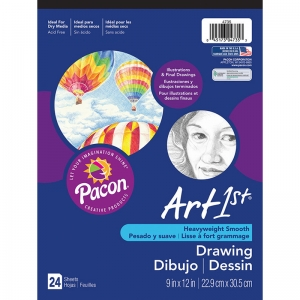 ART1ST DRAWING PAD 9X12 24 SHT WHT